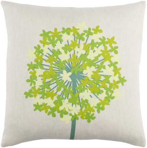 """Agapanthus AP-003 22"""" x 22"""" Pillow Shell with Polyester Insert"""