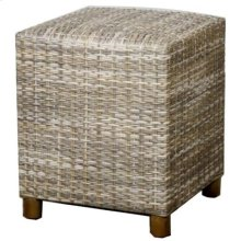 Rattan Square Rattan Stool, Gray