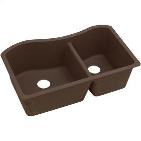 "Elkay Quartz Classic 32-1/2"" x 20"" x 10"", 60/40 Double Bowl Undermount Sink, Mocha"