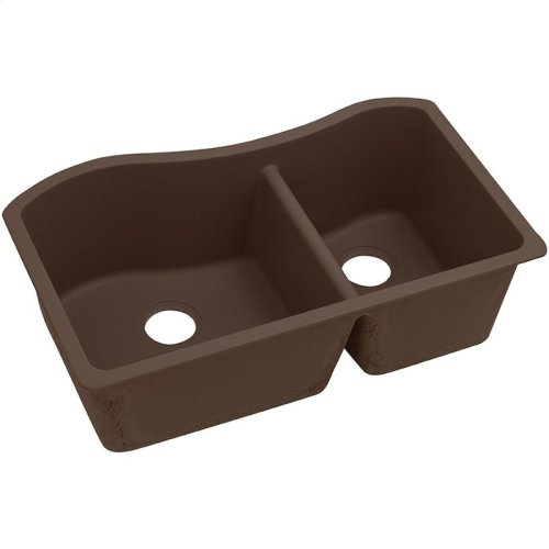 "Elkay Quartz Classic 32-1/2"" x 20"" x 10"", 60/40 Double Bowl Undermount Sink, Mocha"