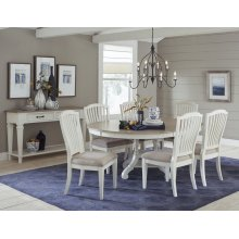 Rockport 7-piece Round Dining Set With Side Chairs - White With Driftwood Top
