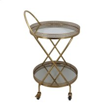 Metal 2 Tier Lattice Bar Cart,gold - Kd