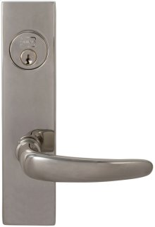 Exterior Modern Mortise Entrance Lever Lockset with Plates in (US14 Polished Nickel Plated, Lacquered)