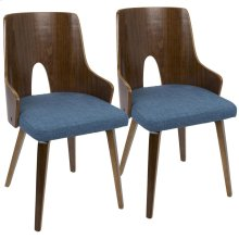 Ariana Chair - Set Of 2 - Walnut Wood, Blue Fabric