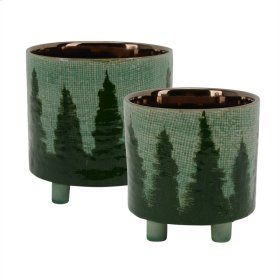 """S/2 Ceramic Footed Planters W/trees 8.5""""/6"""", Green"""