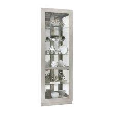 Asymmetrical Two Door Corner Curio Cabinet in Soft Grey