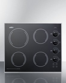 """24"""" Wide 4-burner Radiant Cooktop Made In the Usa, With One Large 8"""" Element and Three Standard Elements In Smooth Black Ceramic Glass Finish"""