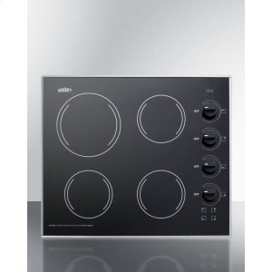 """Summit24"""" Wide 4-burner Radiant Cooktop Made In the Usa, With One Large 8"""" Element and Three Standard Elements In Smooth Black Ceramic Glass Finish"""