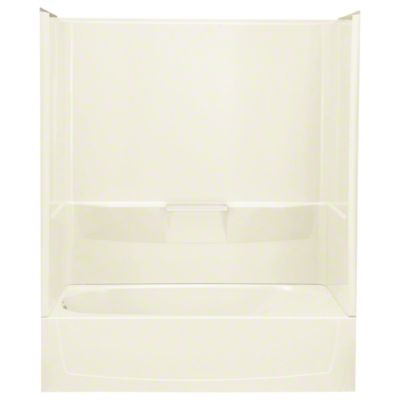 "Performa™ AFD, Series 7104, 60"" x 29"" x 77-3/4"" Bath/Shower with Age in Place Backers - Left-hand Drain - KOHLER Biscuit"