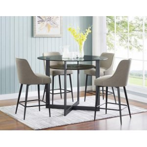 Steve Silver Co.Olson 5 Piece Counter Set (Glass Counter Top Table & 4 Counter Chairs)