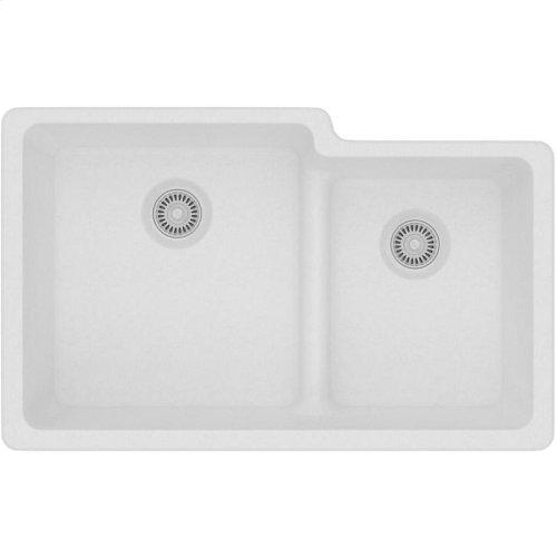 "Elkay Quartz Classic 33"" x 20-1/2"" x 9-1/2"", Offset 60/40 Double Bowl Undermount Sink with Aqua Divide, White"