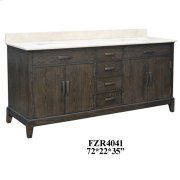 "Kensington 4 Louvered Doors 4 Drawer 72"" Double Vanity Sink Product Image"