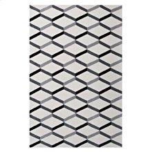 Sigrun Geometric Chevron 5x8 Area Rug in Black and White