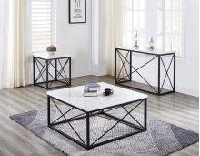 "Skyler WhiteMarble TopRectangle Sofa Table Black 48x18x30"""