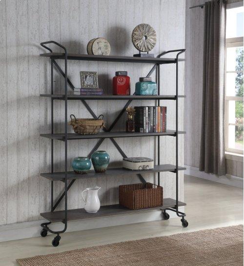 """Emerald Home Quincy 60"""" Bookshelf W/5 Shelves, Antique Grey Ac415-60"""
