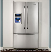"""Renaissance 36"""" Freestanding French Door Refrigerator with Ice and Water Dispenser, in Stainless Steel"""