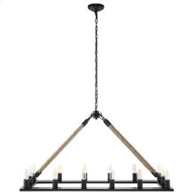 Bridge Rope and Steel Chandelier in Black