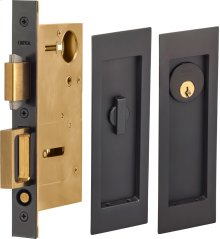 Pocket Door Lock with Modern Rectangular Trim featuring Turnpiece and Keyed Entry. in (US10B Oil-Rubbed Bronze, Lacquered)