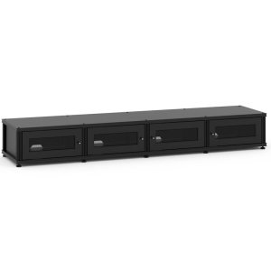 Salamander DesignsSynergy Solution 147, Quad-Width AV Cabinet, Black with Black Posts