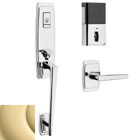 Non-Lacquered Brass Evolved Palm Springs 3/4 Escutcheon Handleset