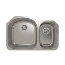 ProInox E350 Double Bowl Undermount Kitchen Sink ProInox E350 18-gauge Stainless Steel, L17-3/4'' X 18-1/2'' X 9'' R10-5/8'' X 16'' X 7''