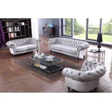 Divani Casa Alexandrina Grey Tufted Fabric Sofa Set