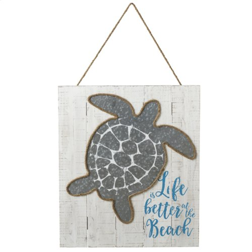 """""""Life is Better at the Beach"""" Galvanized Turtle Wall Decor"""