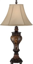 Table Lamp - ANT.BRZ/FAUX Marble/fabric Shade, E27 Cfl 23w Product Image