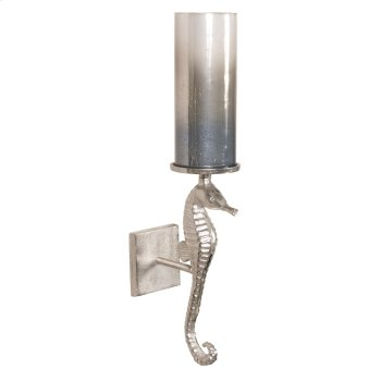 Seahorse Sconce with Pearlized Slate Hurricane Product Image