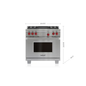 """Wolf36"""" Dual Fuel Range - 4 Burners and Infrared Charbroiler"""