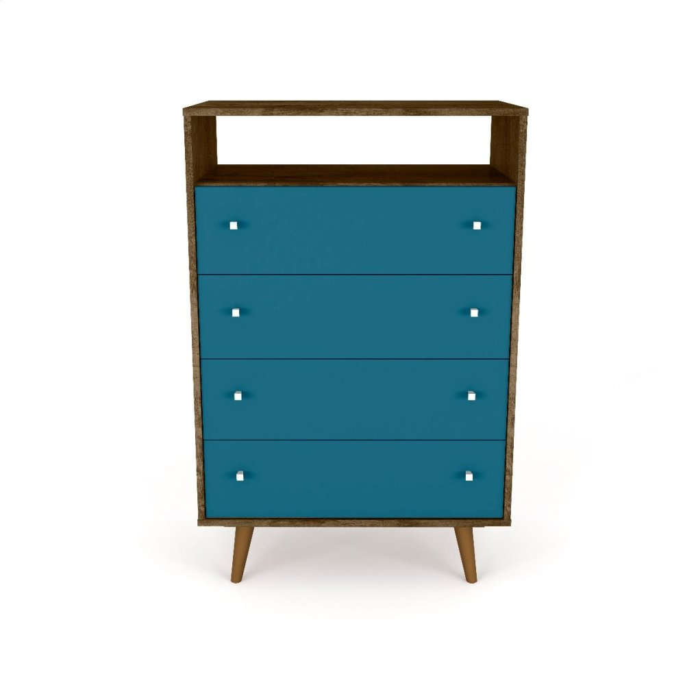 Liberty 4-Drawer Dresser Chest in Rustic Brown and Aqua Blue