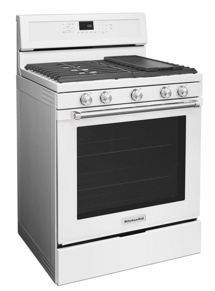 Kitchenaid 30 Inch 5 Burner Gas Convection Range   White