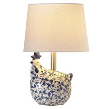 Blue & White Floral Chicken Accent Lamp. 40W Max.