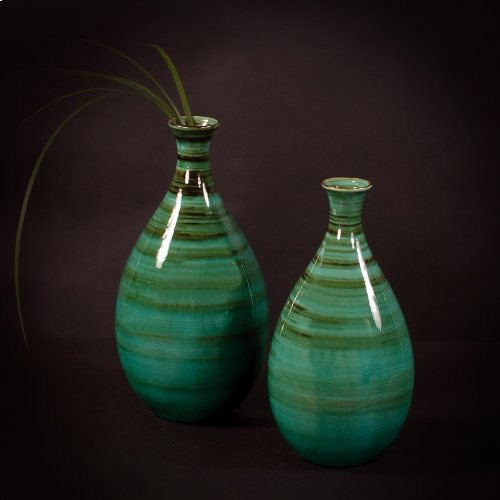 Teal w/ Green & Black Striped Glazed Ceramic Vases
