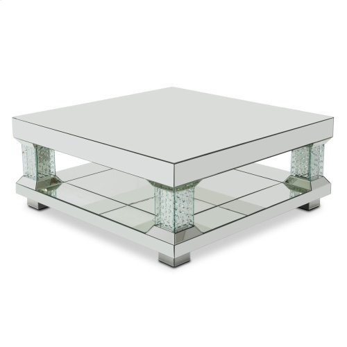Mirrored Cocktail Table W/crystal Accents