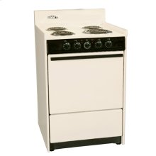 """Bisque 220v Electric Range In Slim 24"""" Width With Storage Compartment"""