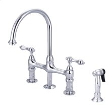 Harding Kitchen Bridge Faucet - Metal Lever Handles - Polished Chrome