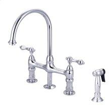 Harding Kitchen Bridge Faucet - Metal Lever Handles - Polished Chrome