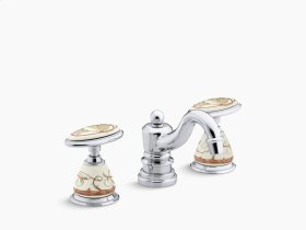 Briar Rose Ceramic Handle Insets and Skirts for Bathroom Sink Faucets