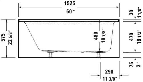 "White Architec Bathtub With Panel Height 21"""