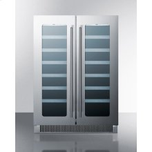 French Door Dual Zone Wine Cellar for Built-in or Freestanding Use, With Seamless Ss Trimmed Low-e Glass Doors and Stainless Steel Wrapped Cabinet