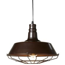 Industrial Pendant with Cage. 40W Max, Plug-in with Hard Wire Kit Included.