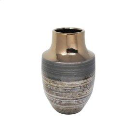 """Ceramic 10.5"""" Vase, Bronze Multi"""