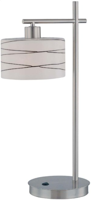 Table Lamp, Ps/fro Gls Shd W.GLAZED Blk Lines, E27 Cfl 13w