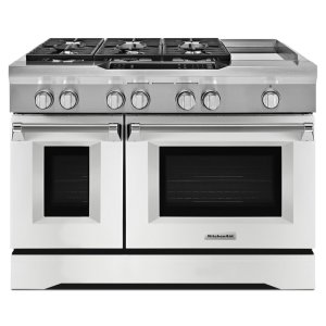 Kitchenaid48'' 6-Burner with Griddle, Dual Fuel Freestanding Range, Commercial-Style - Imperial White