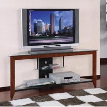 """Medium Cherry"" & Black 60"" Corner TV Stand"