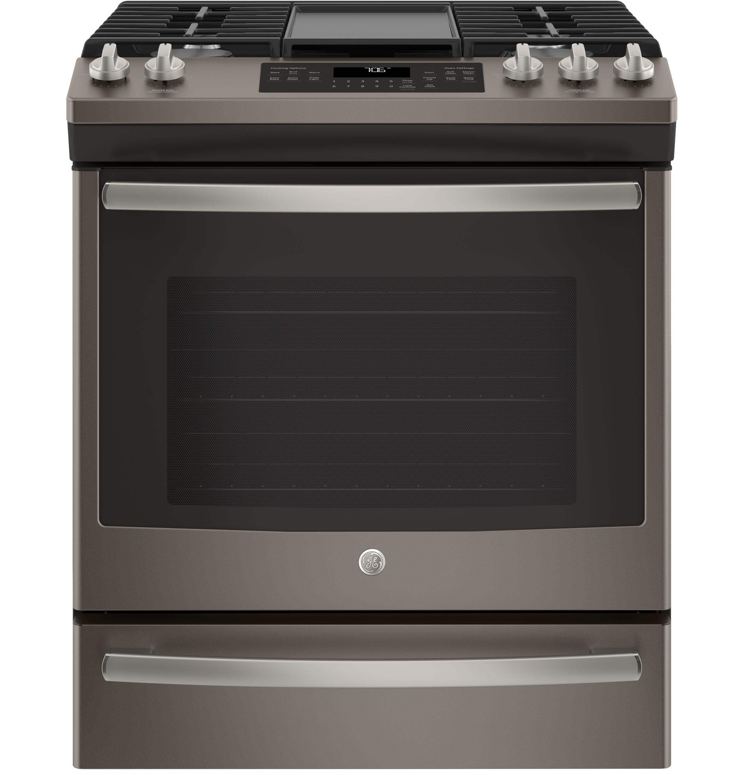 """GE(R) 30"""" Slide-In Front Control Convection Gas Range  SLATE"""