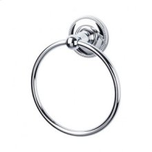 Edwardian Bath Ring Beaded Backplate - Polished Chrome