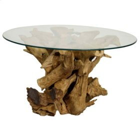 Rego Coffee Table w/ Glass Top, Natural