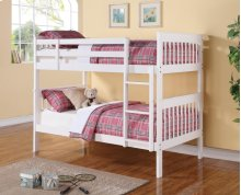 Twin / Twin Wood Bunkbed (White)
